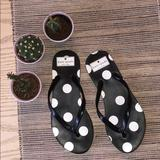 Kate Spade Shoes | Kate Spade Polka Dot Flip Flops Women Size 5-6 | Color: Black/White | Size: Us (5-6)