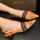 Gucci Shoes | Authentic Gucci Kitten Sling Sandals Pumps | Color: Green/Pink | Size: 6