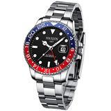 Automatic Mens Watch GMT Waterproof Stainless Steel Wrist Watch for Men Luxury Analog Business Sport Watchmen Auto Date Aluminum Bezel HAIQIN (Red Black 8219)