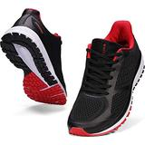 JOOMRA Mens Tennis Shoes Arch Supportive Road Running Black Red Size 9.5 Lace Cushion Man Stylish Mesh Work Runner Walking Jogging Breathable Sneakers 43