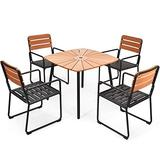 Giantex 5 Piece Patio Dining Table Set, Indoor Outdoor Dining Table and 4 Chairs, Square Table with Built-in Umbrella Hole, Aluminium Bistro Table Set for Yard, Garden, Balcony (Black & Natural)