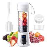 Wireless Portable Blender - USB Rechargeable Portable Blender for Shakes and Smoothies - Personal Smoothie Blender with Stainless Steel Blades - Cordless Travel Fruit Juicer and Crusher - 14oz