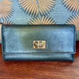Michael Kors Bags   Michael Kors Black Leather Tri-Fold Wallet   Color: Black/Gold   Size: Os