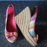 Coach Shoes   Coach Pink Striped Canvas Slingback Wedge Sandal 8   Color: Pink/Tan   Size: 8