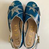 Gucci Shoes   Gucci Lurex Starry Sky Crossover Platform Sandal   Color: Blue   Size: 8.5