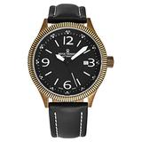 Revue Thommen Men's 'Airspeed Vintage' Automatic Watch - Black Dial with Black Luminous Hands - Sapphire Crystal and Black Leather Strap Swiss Watch for Men 17060.2587