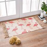 Cotton Printed Rug Flamingo Carpet Kitchen Rug 2'×3' Boho Rugs Washable Decorative Runner Rug for Bedroom Porch Kitchen Bathroom Living Room. (Gray)