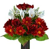 Sympathy Silks Artificial Cemetery Flowers - Realistic - Outdoor Grave Decorations - Non-Bleed Colors, and Easy Fit - Cinnamon Red Daisy and White Calla Lily Bouquet