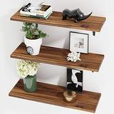 BAMEOS Floating Shelves, Rustic Wood Wall Storage Shelves, Wall Mounted Shelf Organizer Set of 3 for Living Room, Bedroom, Kitchen, Bathroom, Office