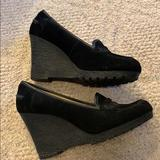 Michael Kors Shoes   Mk Black Suede Tall Wedge Loafers   Color: Black   Size: 9