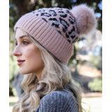 Leto Collection Women's Beanies PINK - Pink Leopard Faux Fur Pom-Pom Beanie - Women