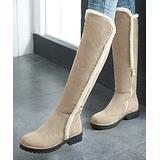 BUTITI Women's Casual boots beige - Beige Fleecy-Seam Knee-High Boot - Women