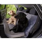 3 Dog Pet Supply Personalized Car Back Seat Protector with Bolster, Grey Fleece