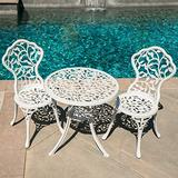 Lares & Penates 3 PCS Antique White Cast Iron and Cast Aluminum Bistro Set, Round Table with 2 Chairs for Patio, Poolside, Garden, Porch, Deck, Dining Sets, Outdoor Furniture