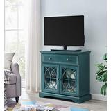 EZ-Style Electric 32'' Media Antique Blue Segmented TV Stand Fireplace