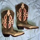 Nine West Shoes | Nine West Cowboy Boots | Color: Cream/Red | Size: 9