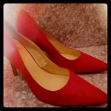 Nine West Shoes | Nine West Red Satin Pumps | Color: Red | Size: 9
