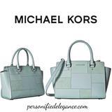 Michael Kors Bags   Michael Kors Selma Celadon Leather Patchwork Bag   Color: Red/Silver   Size: Medium
