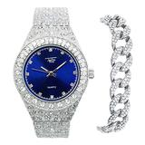 Mens 44mm Flooded Diamond Watch and Bracelet Combo with CZ Crystals - Hip Hop Inspired Iced Out Metal Band Watch + CZ Cuban Bracelet - Fully Bling-ed Out