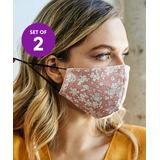 Leto Collection Women's Fabric Face Masks PINK - Pink Floral Non-Medical Face Mask - Set of Two