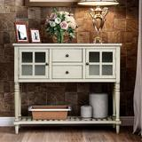 """Longshore Tides Cullum 42"""" Wide 2 Drawer Pine Wood Buffet TableWood in Gray, Size 34.2 H x 42.0 W x 14.0 D in   Wayfair"""