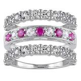 Stella Grace Sterling Silver Lab-Created Ruby & Lab-Created White Sapphire Ring Set, Women's, Size: 8