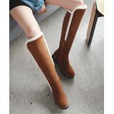 BUTITI Women's Casual boots yellow - Yellow Fleecy-Seam Knee-High Boot - Women