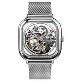 CIGA Design Watch Automatic Mechanical Wristwatch Stainless Steel Dial Strap Full Hollow Timepiece (Silver)