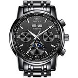 Watches for Men Automatic All Black Stainless Steel Chronograph Moon Phase Dress Watches for Mens Luxury Waterproof Luminous OLEVS Mechanical Wrist Watches