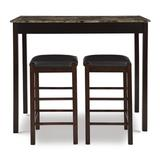 Winston Porter Loria 3 Piece Counter Height Dining Set Wood/Upholstered Chairs in Brown, Size 36.0 H x 22.25 W x 42.0 D in | Wayfair