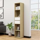 "vidaXL Book Cabinet White and Sonoma Oak 14.2""x11.8""x67.3"" Chipboard"
