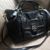 Coach Bags   Coach Black Leather Laptop Bag With Shoulder Strap   Color: Black   Size: Os