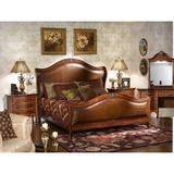 Astoria Grand Labrecque Queen Solid Wood Upholstered Sleigh 5 Piece Bedroom Set Upholstered/Leather/Genuine Leather in Brown/Red   Wayfair