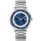 Classic Business Watches Men Easy Reader Watch Men Steel Mesh Band Genuine Leather Waterproof Men's Watch Clock Relogio Masculino Creative Wristwatch (Blue-Number-Mesh)