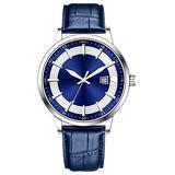 Classic Business Watches Men Easy Reader Watch Men Steel Mesh Band Genuine Leather Waterproof Men's Watch Clock Relogio Masculino Creative Wristwatch (Blue-Leather)