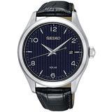 Seiko Solar Mens Analog Solar Watch with Leather Bracelet SNE491P1