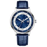 Classic Business Watches Men Easy Reader Watch Men Steel Mesh Band Genuine Leather Waterproof Men's Watch Clock Relogio Masculino Creative Wristwatch (Blue-Number-Leather)
