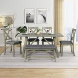 Gracie Oaks Shaquille 6 - Piece Dining Set Wood/Metal in Brown/Gray, Size 30.0 H x 36.0 W x 60.0 D in   Wayfair 51FFB74DFE964F5FB30A8B2CA244475C