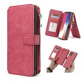 """WintMing Compatible with iPhone 12 Pro Max 6.7"""" Wallet Case Magnetic Detachable Leather Case with Credit Card Slots Money Purse Protection Cover (Red, 12 Pro Max(6.7""""))"""
