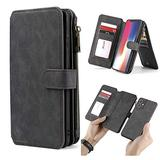 """WintMing Compatible with iPhone 12 Mini 5.4"""" Wallet Case Magnetic Detachable Leather Case with Credit Card Slots Money Purse Protection Cover (Black, 12 Mini(5.4""""))"""