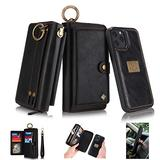 """WintMing Compatible with iPhone 12 Mini 5.4"""" Wallet Case with Card Holder Flip Leather Case Magnetic Detchable Stand Feature Multi-Function Protective Cover (Black, 12 Mini(5.4""""))"""