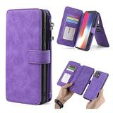 """WintMing Compatible with iPhone 12 Pro Max 6.7"""" Wallet Case Magnetic Detachable Leather Case with Credit Card Slots Money Purse Protection Cover (Purple, 12 Pro Max(6.7""""))"""