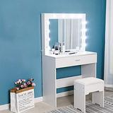 Lroplie Vanity Set with Mirror,5 Large Sliding Drawers,Makeup Table and Cushioned Stool Set,Removable Makeup Organizer,Dressing Table (White Walnut)
