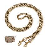 """OAikor Metal Flat Chain Strap Replacement for Purse Shoulder Bag Handbag Straps Accessories 43"""" with Buckles(Gold)"""