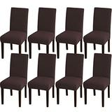 Turquoize Dining Room Chair Covers Stretch Chair Covers for Dining Room Set of 8 Dining Chair Slipcover Parsons Kitchen Chair Covers Removable Chair Protector Covers for Dining Room, Hotel (8, Brown)