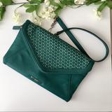 Nine West Bags | Nine West Teal Cut Out Envelope Clutch Bag W Strap | Color: Green/Silver | Size: Os