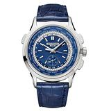 Patek Philippe Complications Blue Dial Automatic Mens 18K White Gold Watch 5930G-010