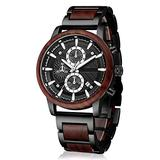 Men's Wooden Watch, shifenmei S3016 Multifuctional Wood Watches for Men Fashion Male Wooden Wrist Watch Stylish Wood & Metal Chronograph Watch Date Display Liminous Quartz Watches (Red Sandal Wood)