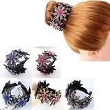 5Pcs Rhinestone Hair Bun Claws Crystal Hairpin Ponytail Hair Bun Holders Hair Clip Styling Accessory for Women Ponytail Buckle Hair Ornament