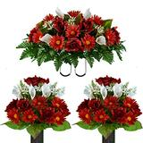 Sympathy Silks Artificial Cemetery Flowers - Realistic - Outdoor Grave Decorations - Non-Bleed Colors -2 Cinnamon Red Daisy and White Calla Lily Bouquets with Matching Saddle for Headstone